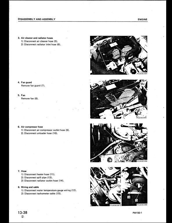 Komatsu Pw150 1 Wheeled Excavators Service Repair Workshop